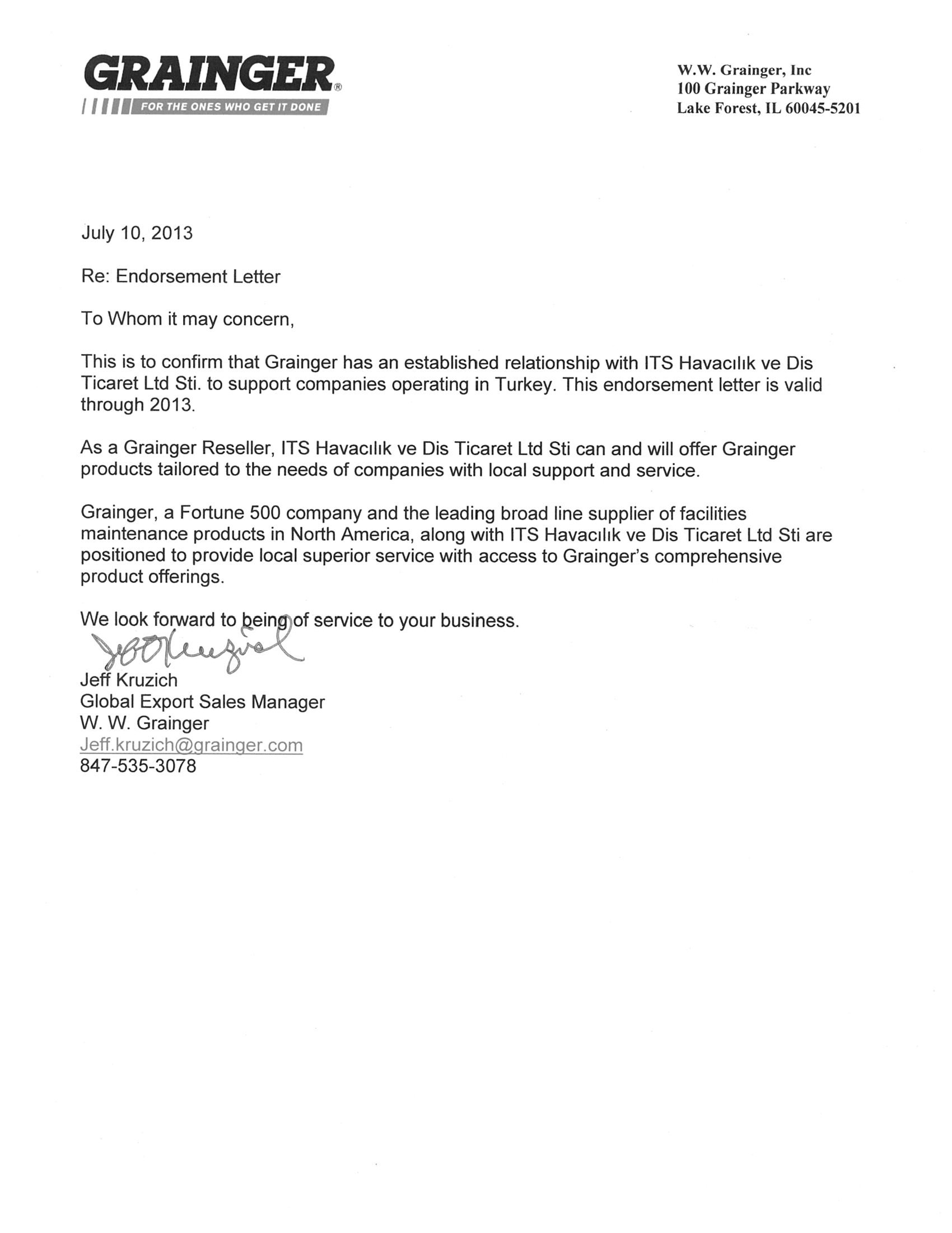 endorsement letters its aviation trading company endorsement letters